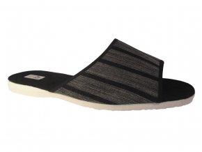 Pánské domácí pantofle Bokap 017 šedá s proužky
