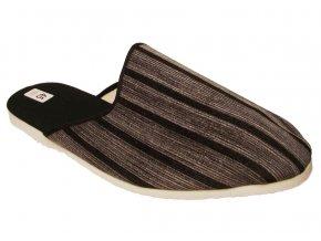 Pánské domácí pantofle Bokap 045 šedá s proužky