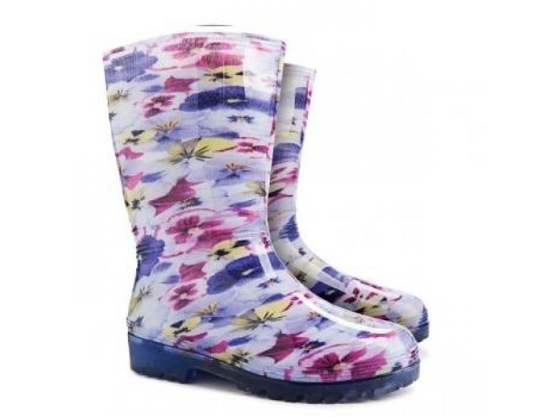 Dámské holínky Demar Rainny květinový motiv fialová Velikost: 40 (EU)