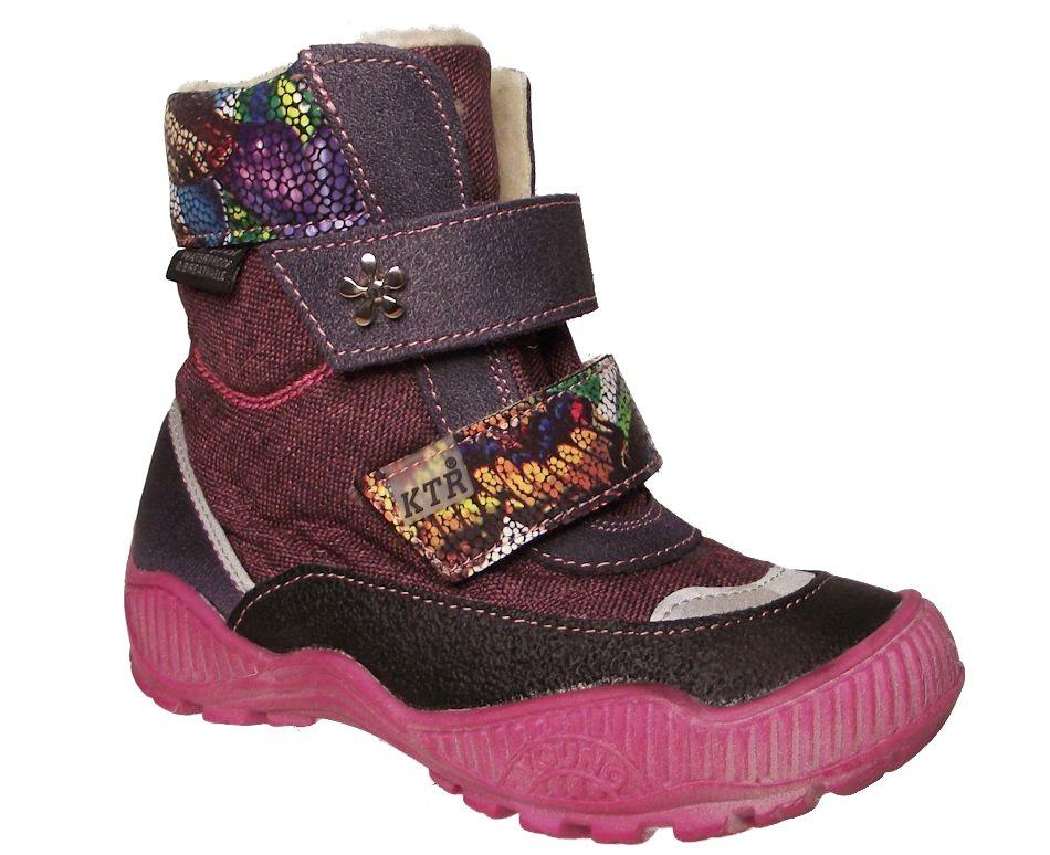 Dětské zimní kotníkové boty KTR 316/1/N fialové Velikost: 26 (EU)