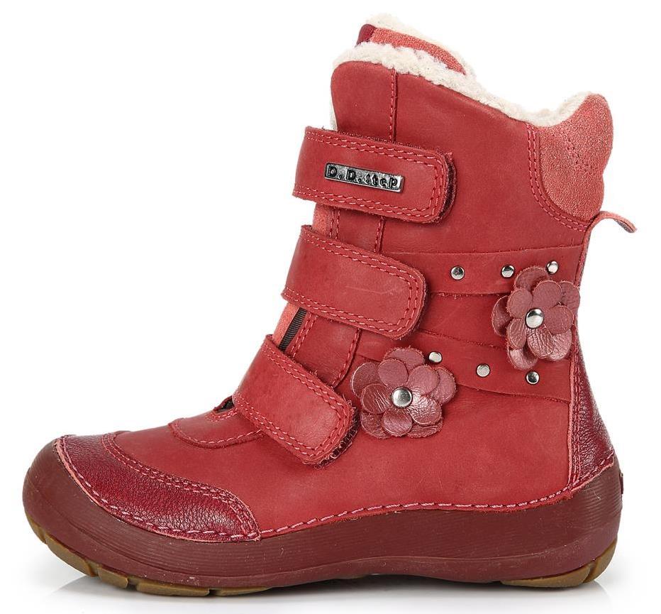 Dětské zimní kotníkové boty D.D.step 023 červené Velikost: 33 (EU)