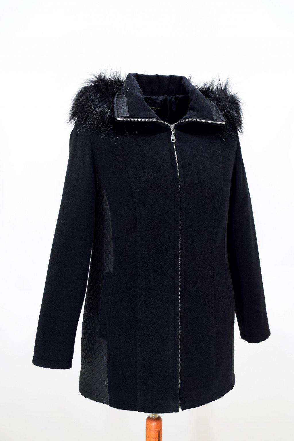 Dámský černý zimní kabátek Frída nadměrné velikosti.