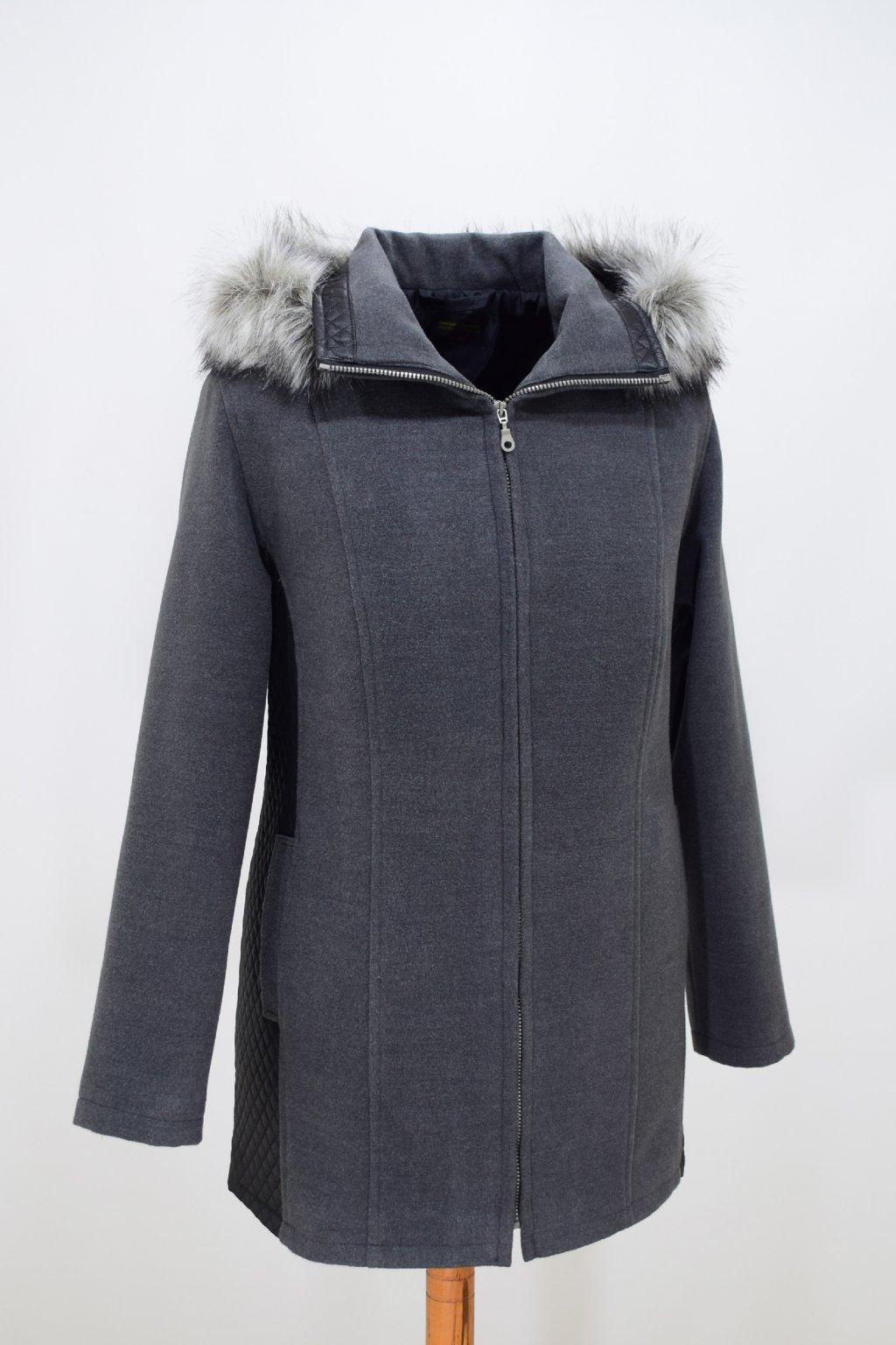 Dámský šedý zimní kabátek Frída nadměrné velikosti.