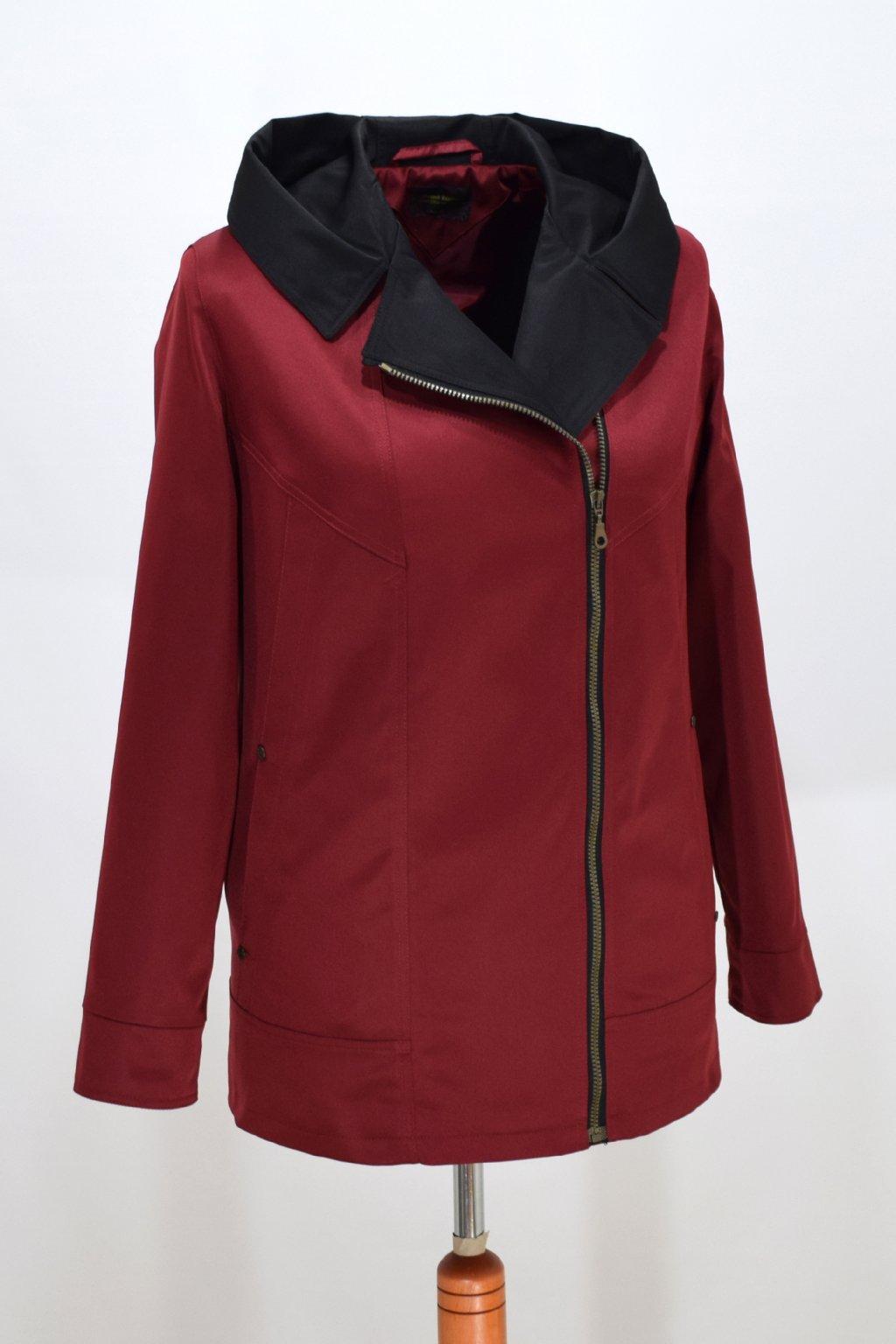 Dámská vínová jarní bunda Marika nadměrné velikosti.