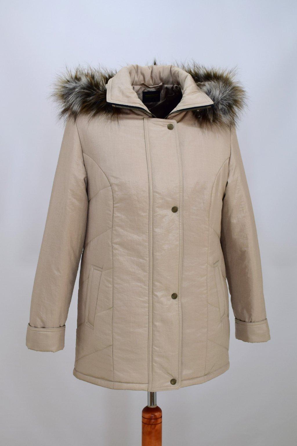 Dámská béžová krešovaná zimní bunda Andrea nadměrné velikosti