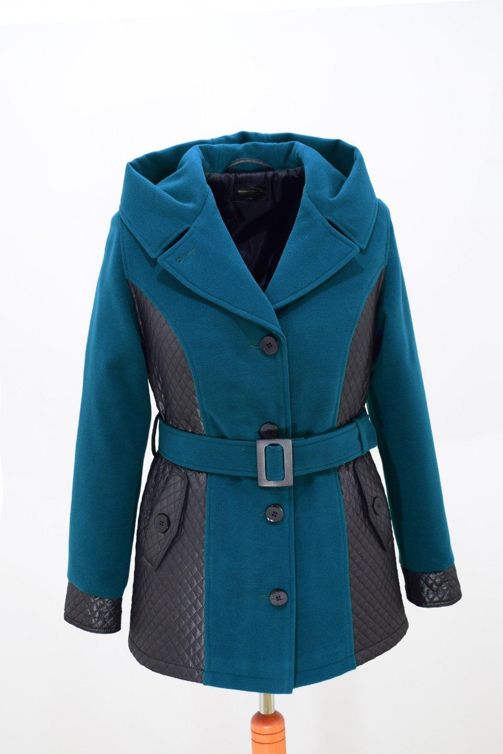 Dámský petrolový zimní kabátek Aneta nadměrné velikosti.