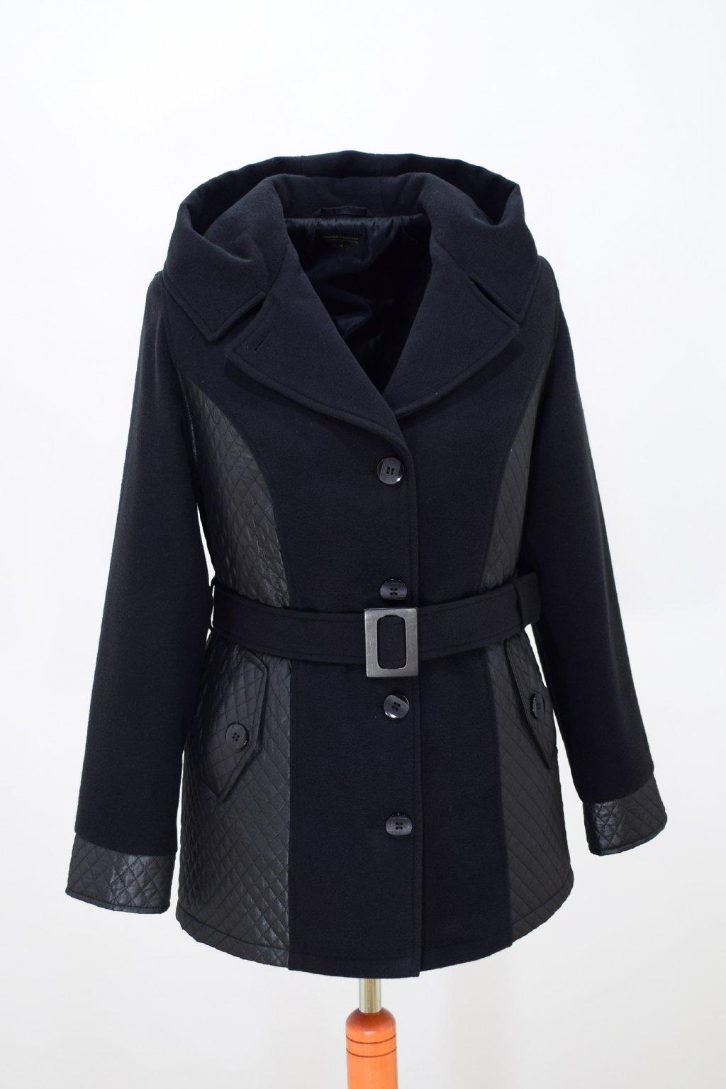 Dámský černý zimní kabátek Aneta nadměrné velikosti.
