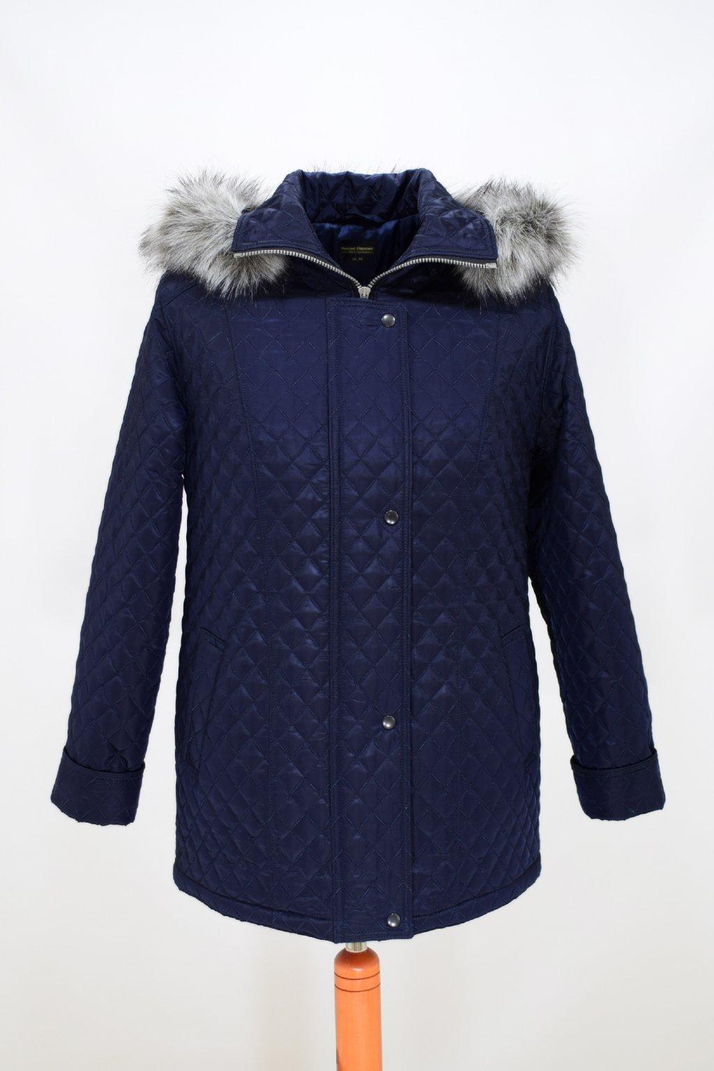 Dámská tmavě modrá zimní bunda Krista nadměrné velikosti.