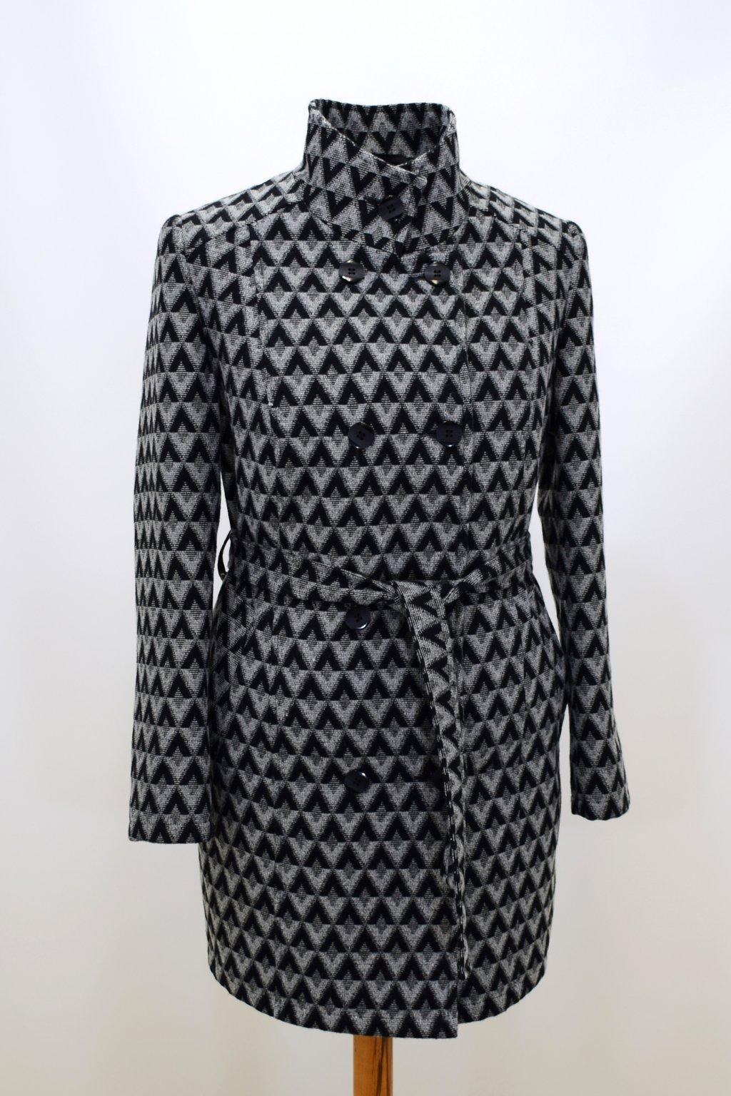 Dámský zimní šedý kostkovaný kabát Sofie.