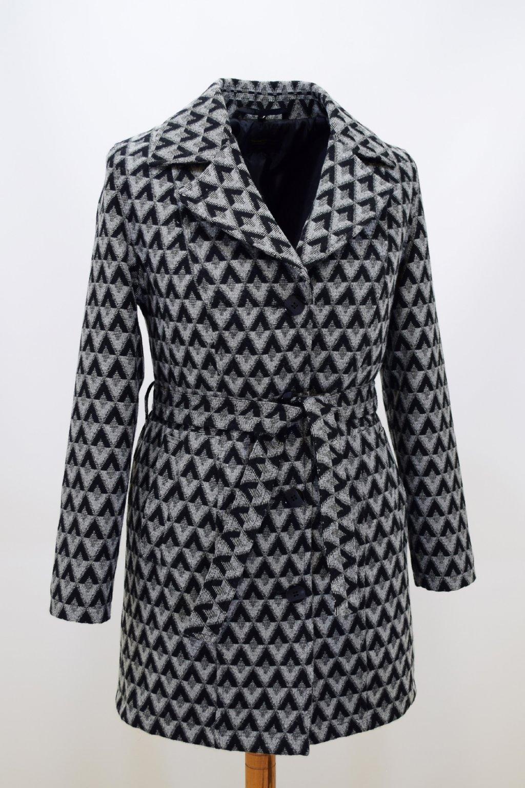 Dámský zimní šedý kostkovaný kabát Julie.