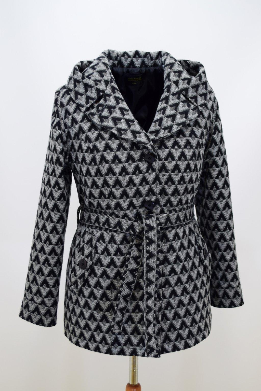Dámský šedý kostkovaný zimní kabátek Aneta nadměrné velikosti.
