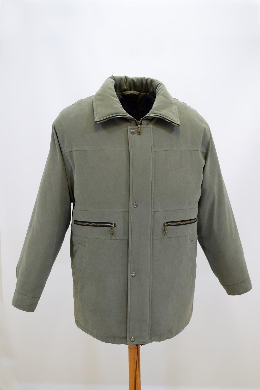 Pánská zimní zelená bunda Václav nadměrné velikosti