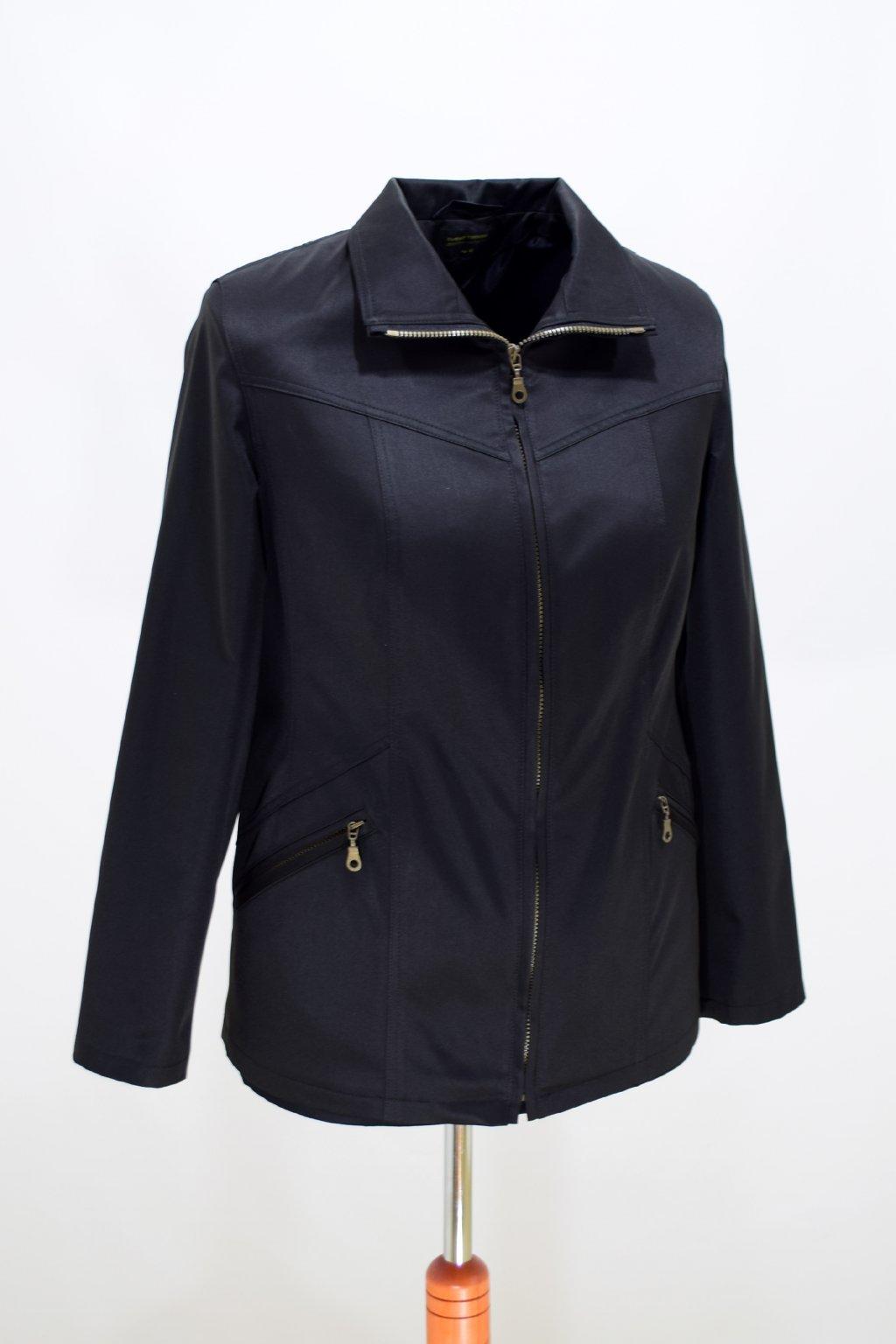 Dámská černá jarní bunda Ema nadměrné velikosti.