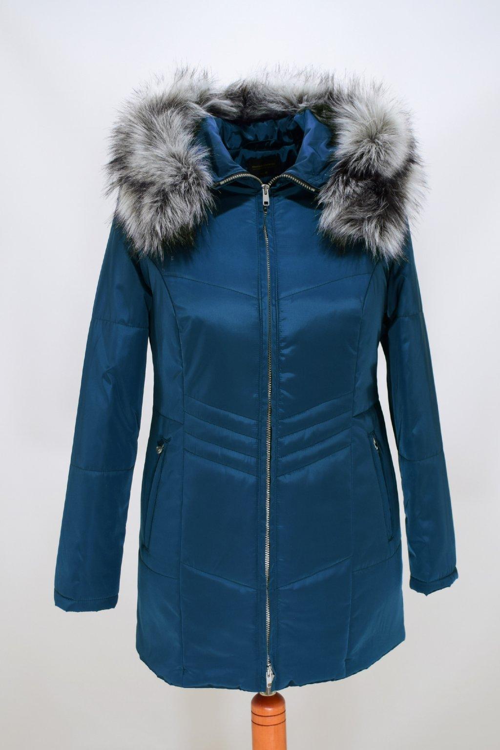 Dámská petrolová zimní bunda Judita nadměrné velikosti.