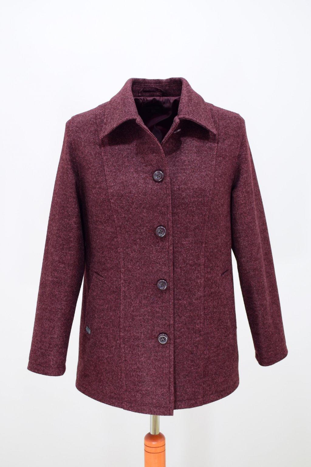 Dámský vínový přechodový kabátek Dorka nadměrné velikosti.