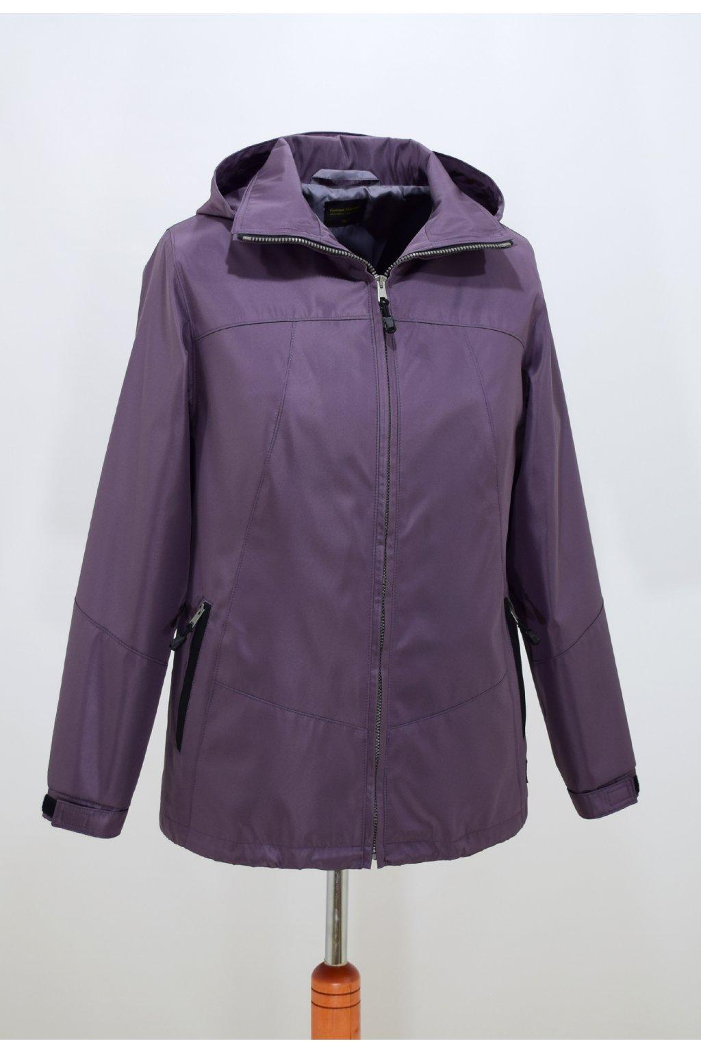 Dámská jarní bunda v barvě lila Angela nadměrné velikosti.