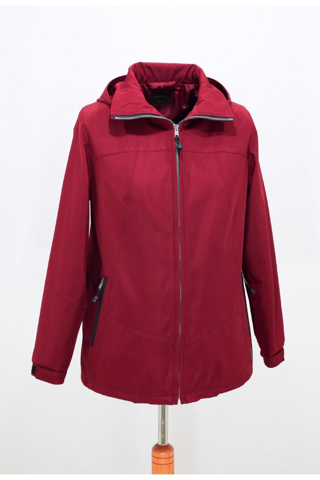 Dámská jarní vínová bunda Angela nadměrné velikosti.