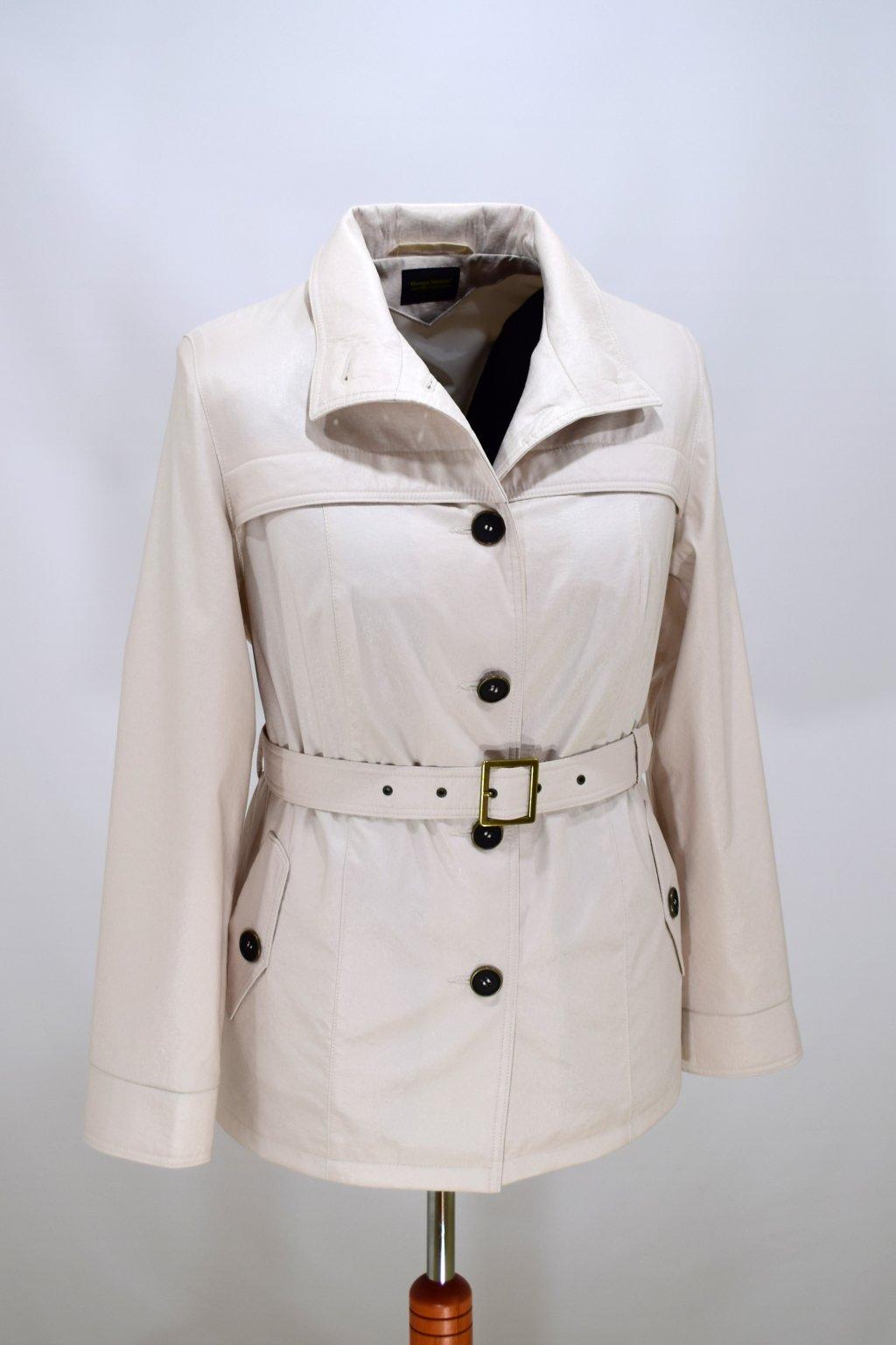 Dámský smetanový jarní kabátek Laura nadměrné velikosti.