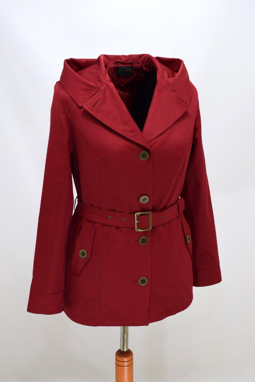 Dámský bordo jarní kabátek Eva nadměrné velikosti.