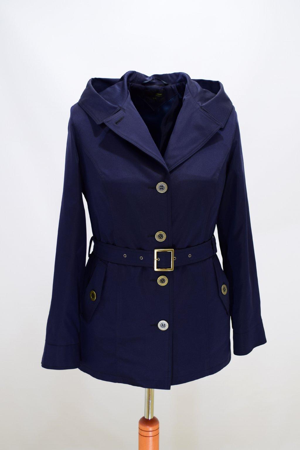 Dámský tmavě modrý jarní kabátek Eva nadměrné velikosti.