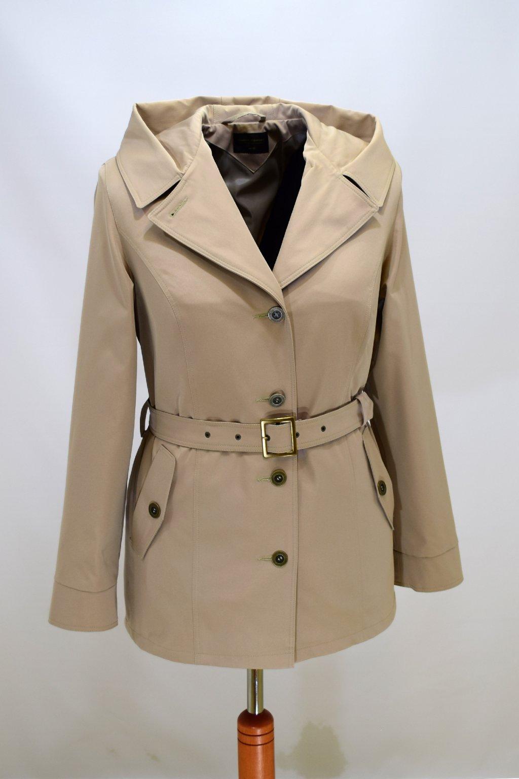 Dámský béžový jarní kabátek Eva nadměrné velikosti.