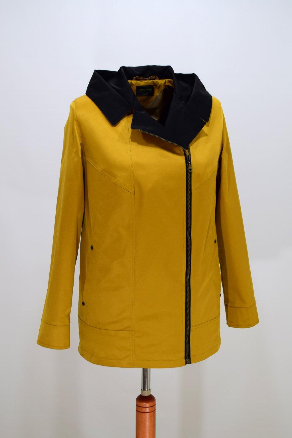 Dámská žlutá jarní bunda Marika nadměrné velikosti.