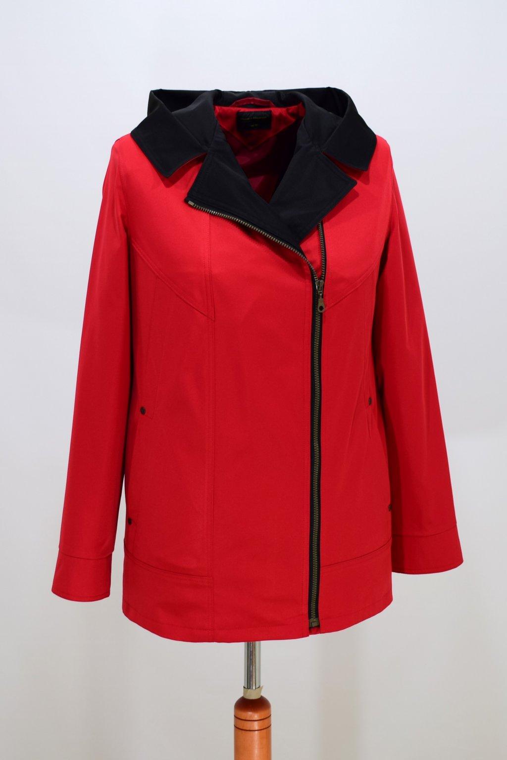 Dámská červená jarní bunda Marika nadměrné velikosti.