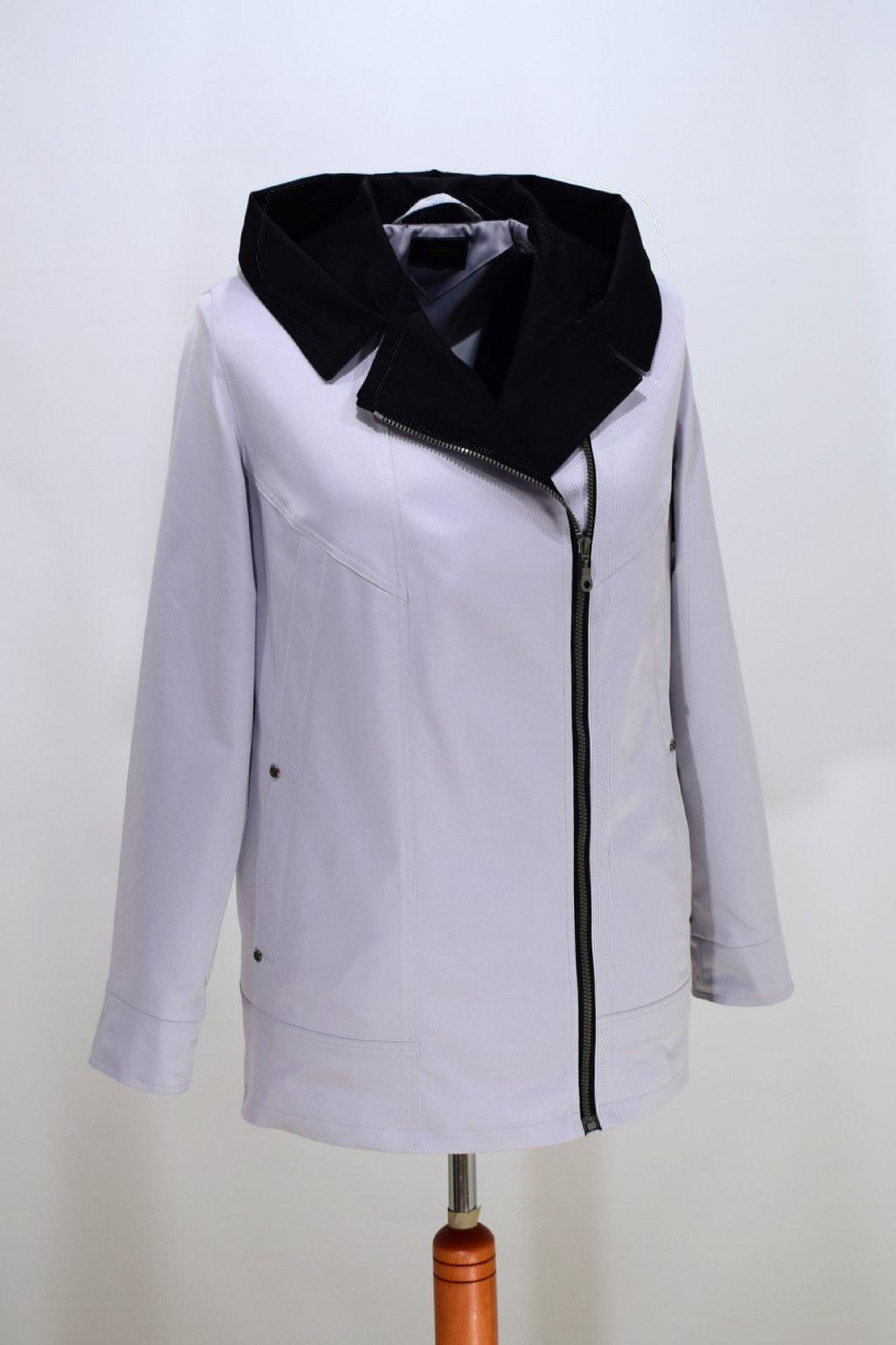 Dámská světle šedá jarní bunda Marika nadměrné velikosti.