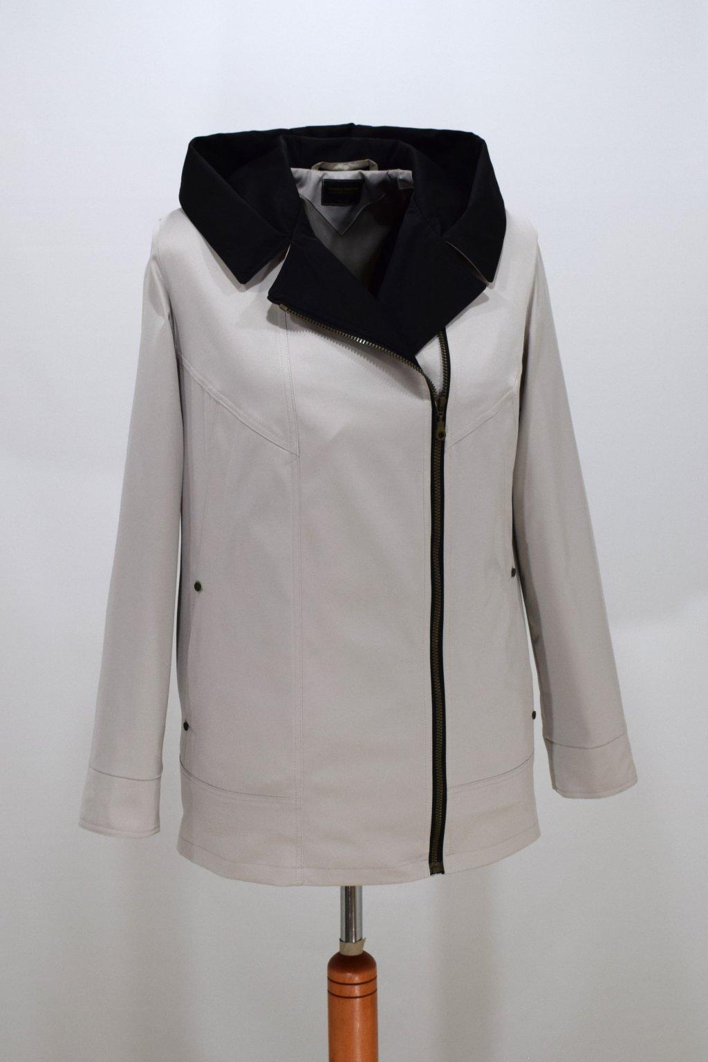 Dámská smetanová jarní bunda Marika nadměrné velikosti.
