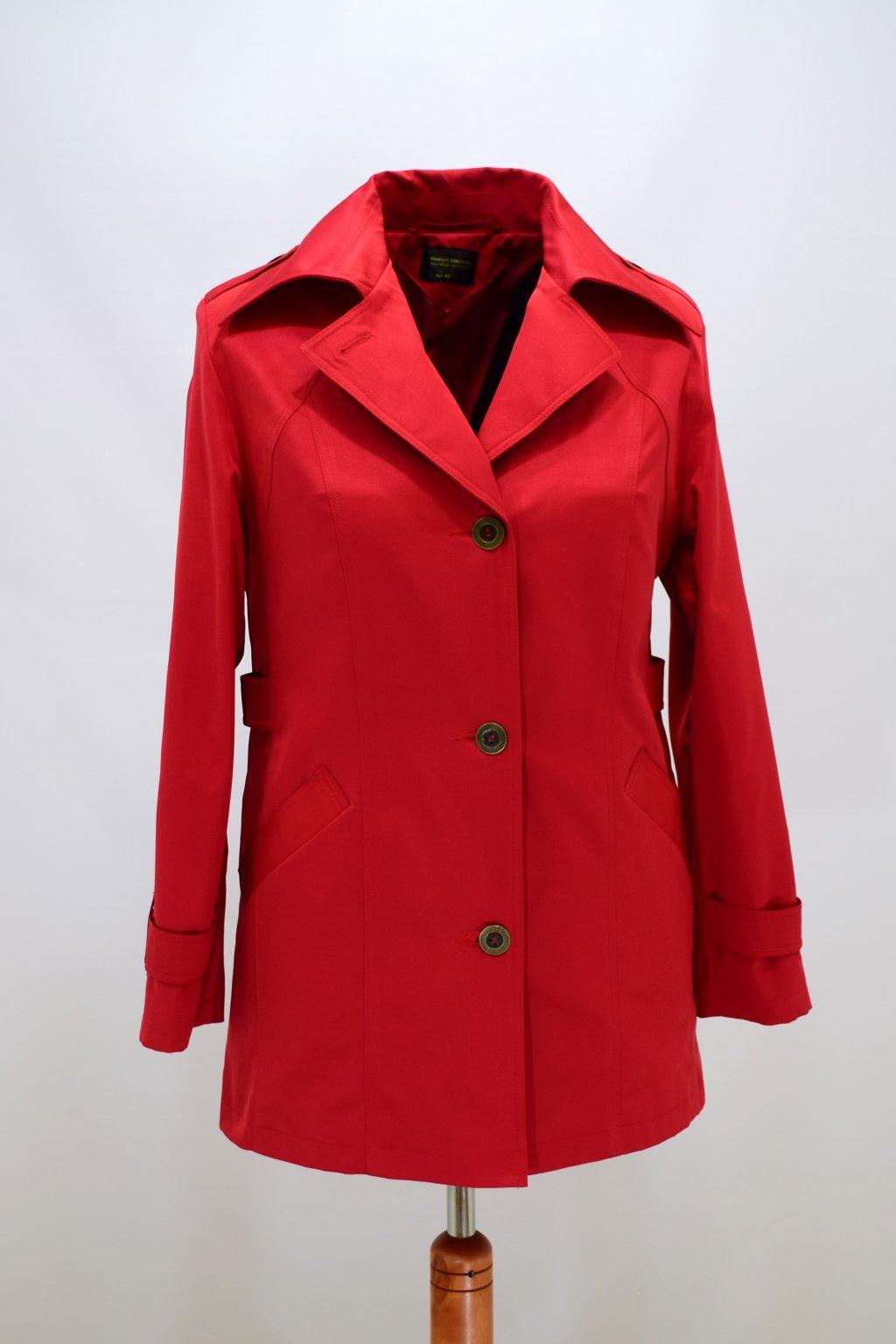 Dámský červený jarní kabátek Klára nadměrné velikosti.