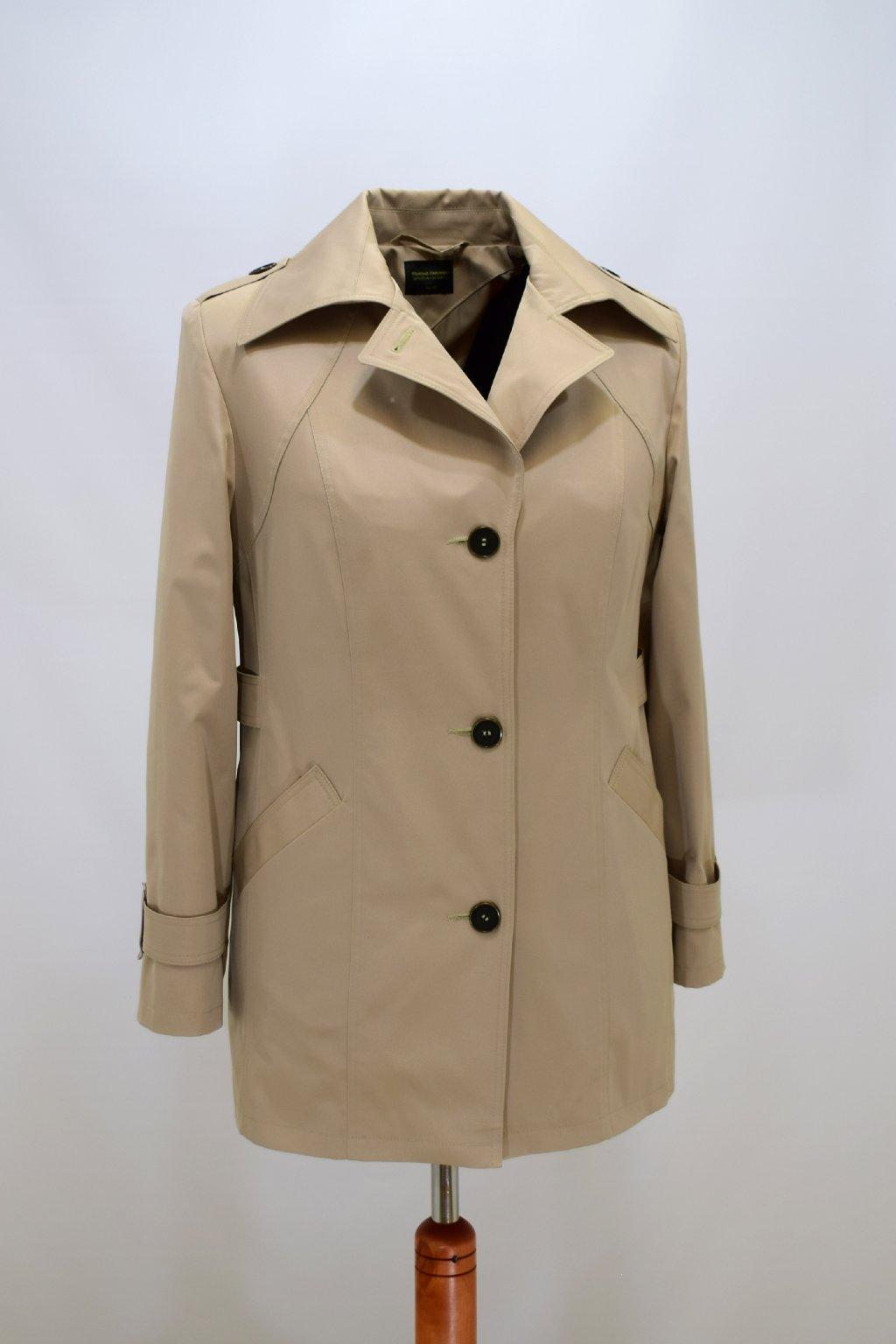 Dámský béžový jarní kabátek Klára nadměrné velikosti.