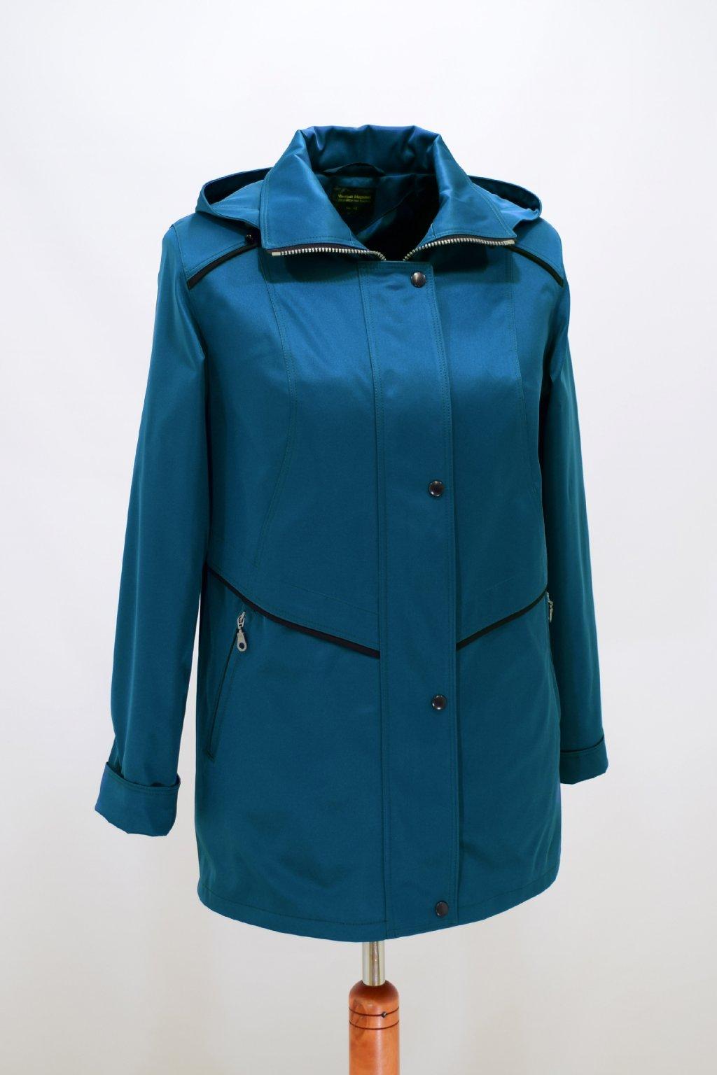 Dámská petrolová jarní bunda Edita nadměrné velikosti.