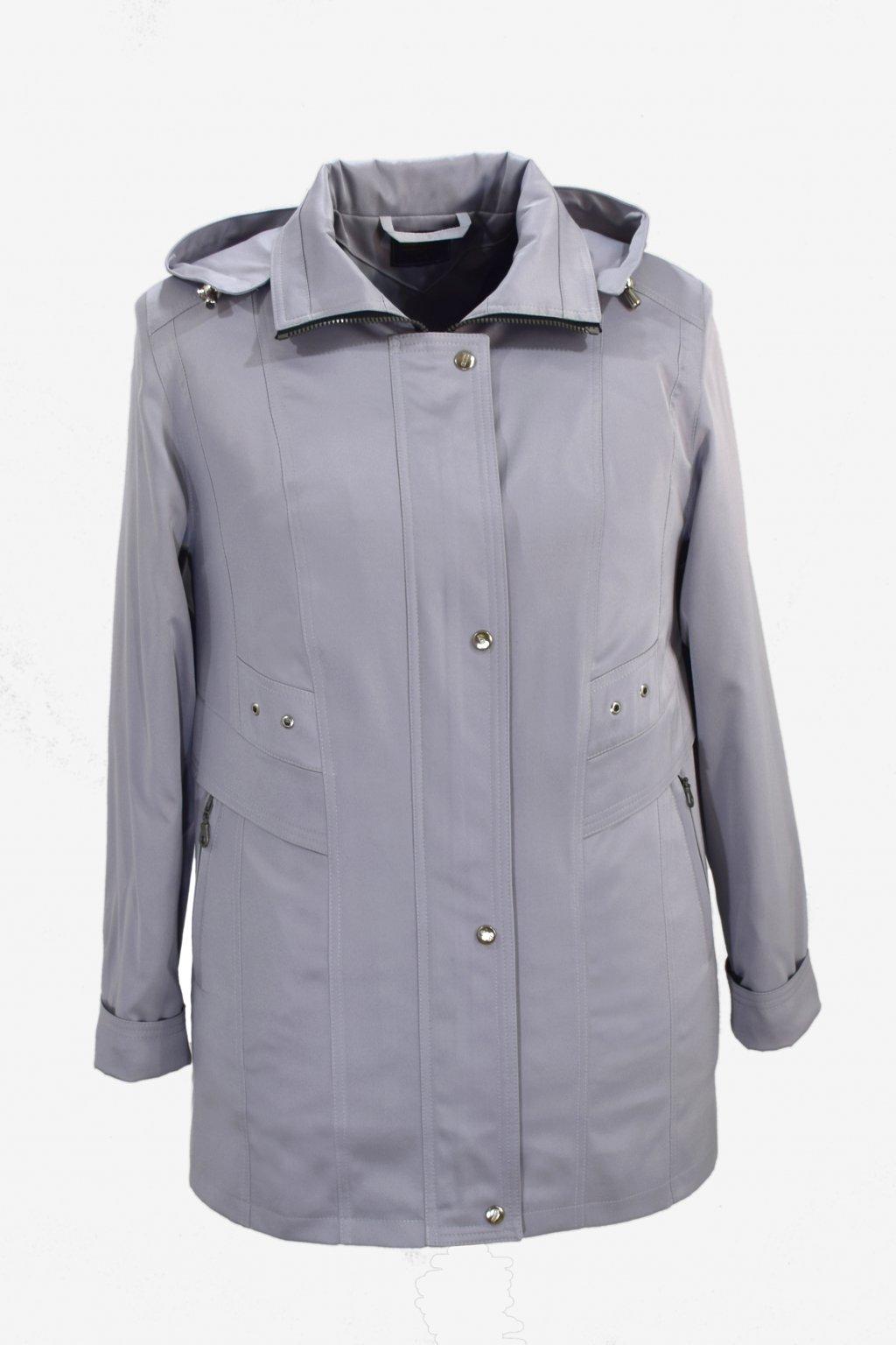 Dámská světle šedá jarní bunda Helena nadměrné velikosti.