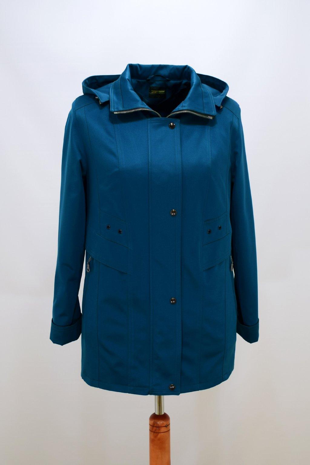 Dámská petrolová jarní bunda Helena nadměrné velikosti.