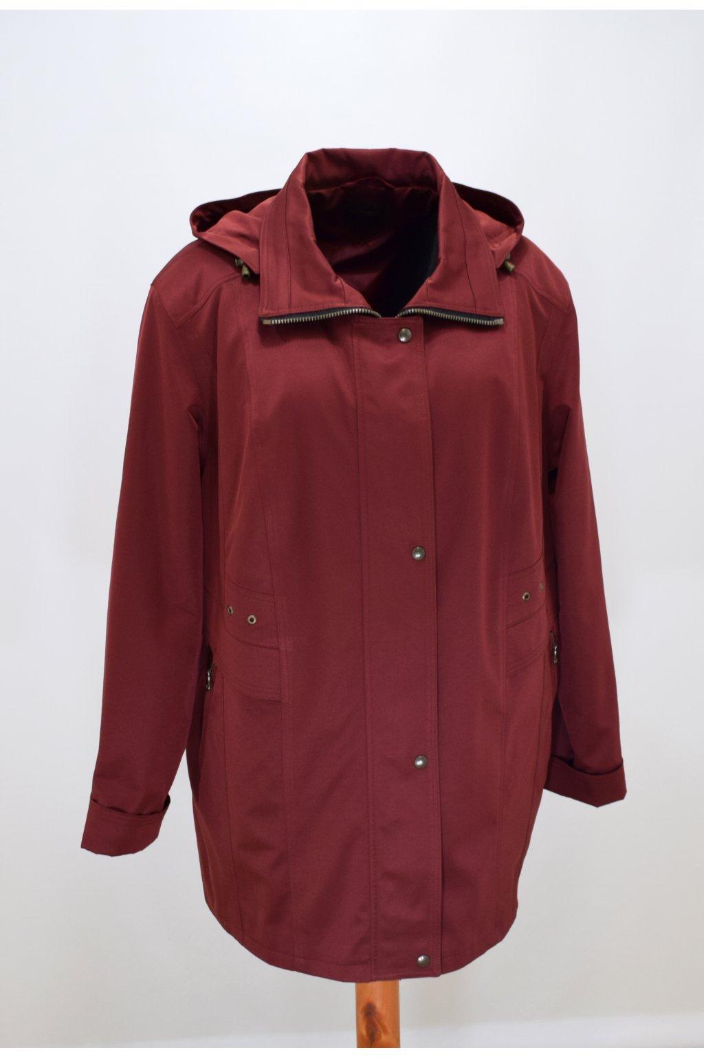 Dámská vínová jarní bunda Helena nadměrné velikosti.