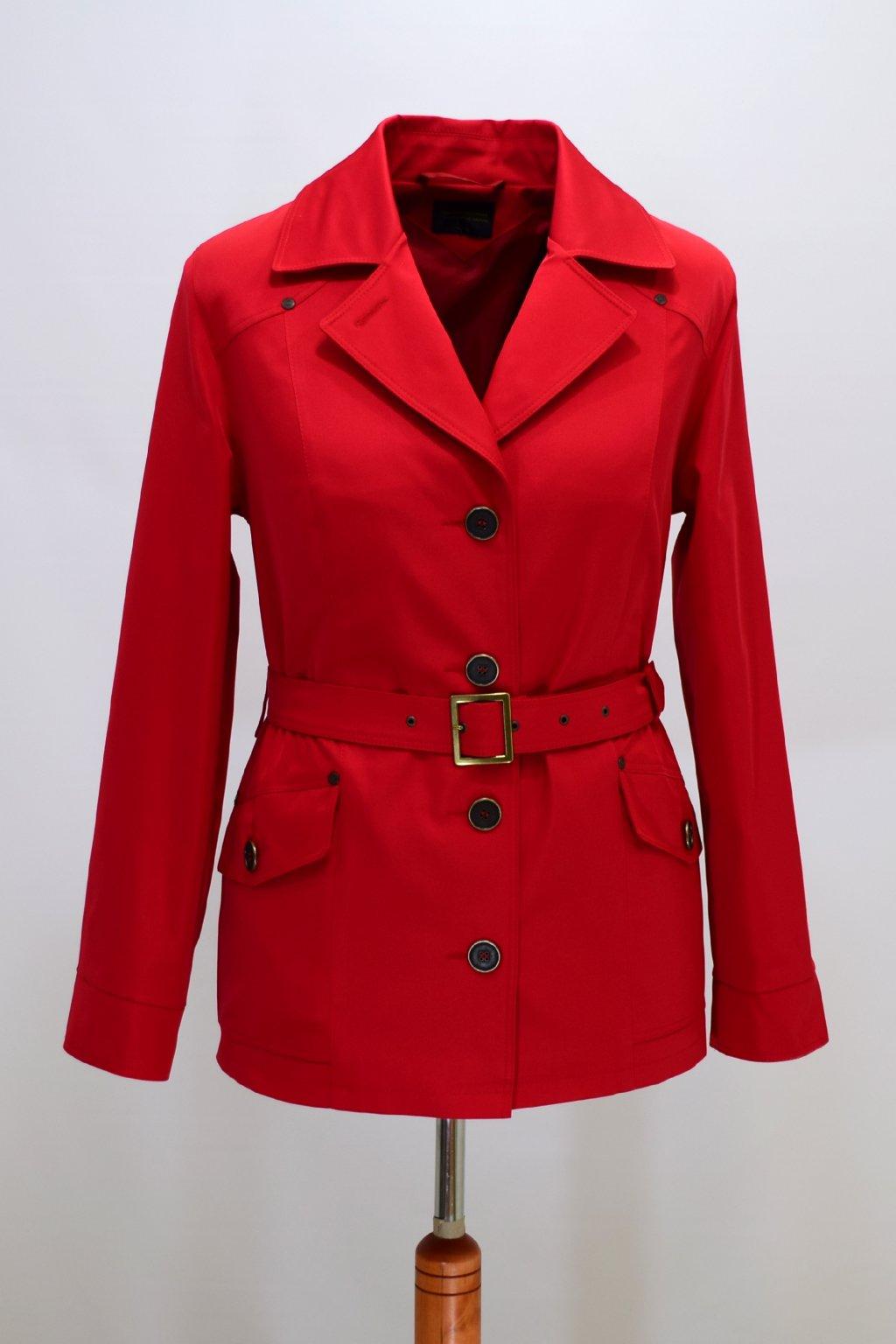 Dámský červená jarní kabátek Gábina nadměrné velikosti.