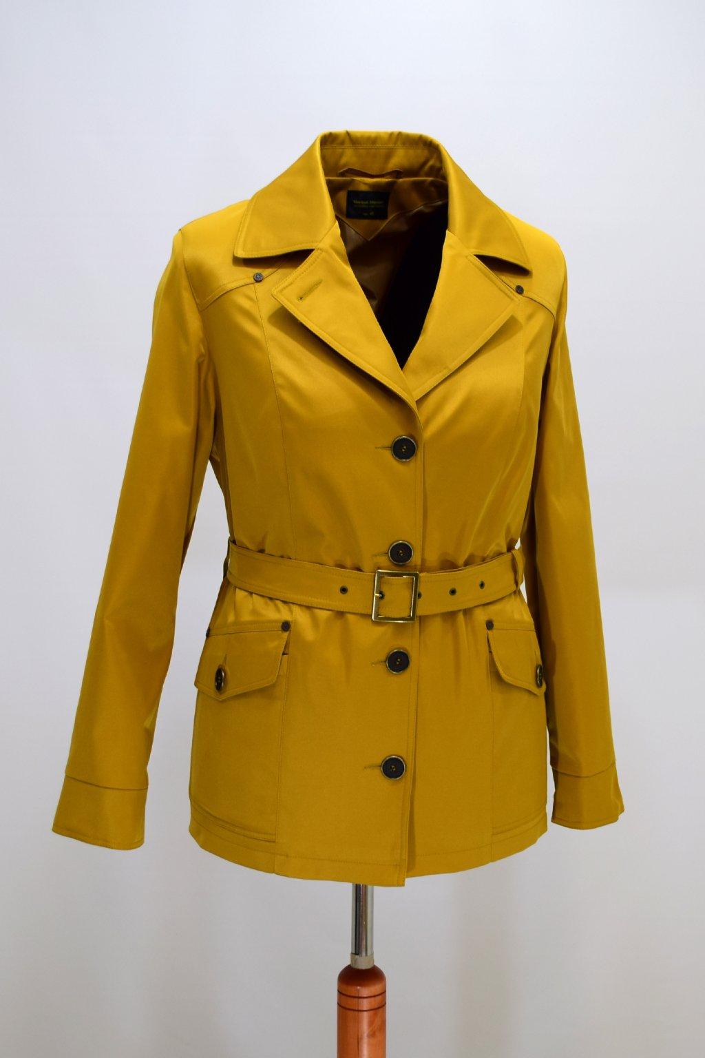 Dámský žlutý jarní kabátek Gábina nadměrné velikosti.