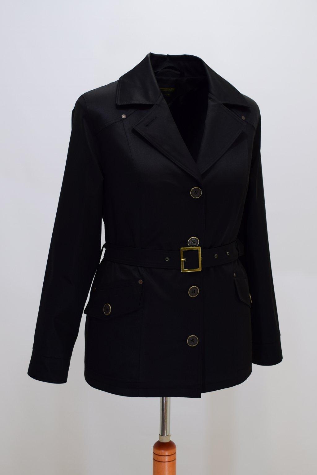 Dámský černý jarní kabátek Gábina nadměrné velikosti.