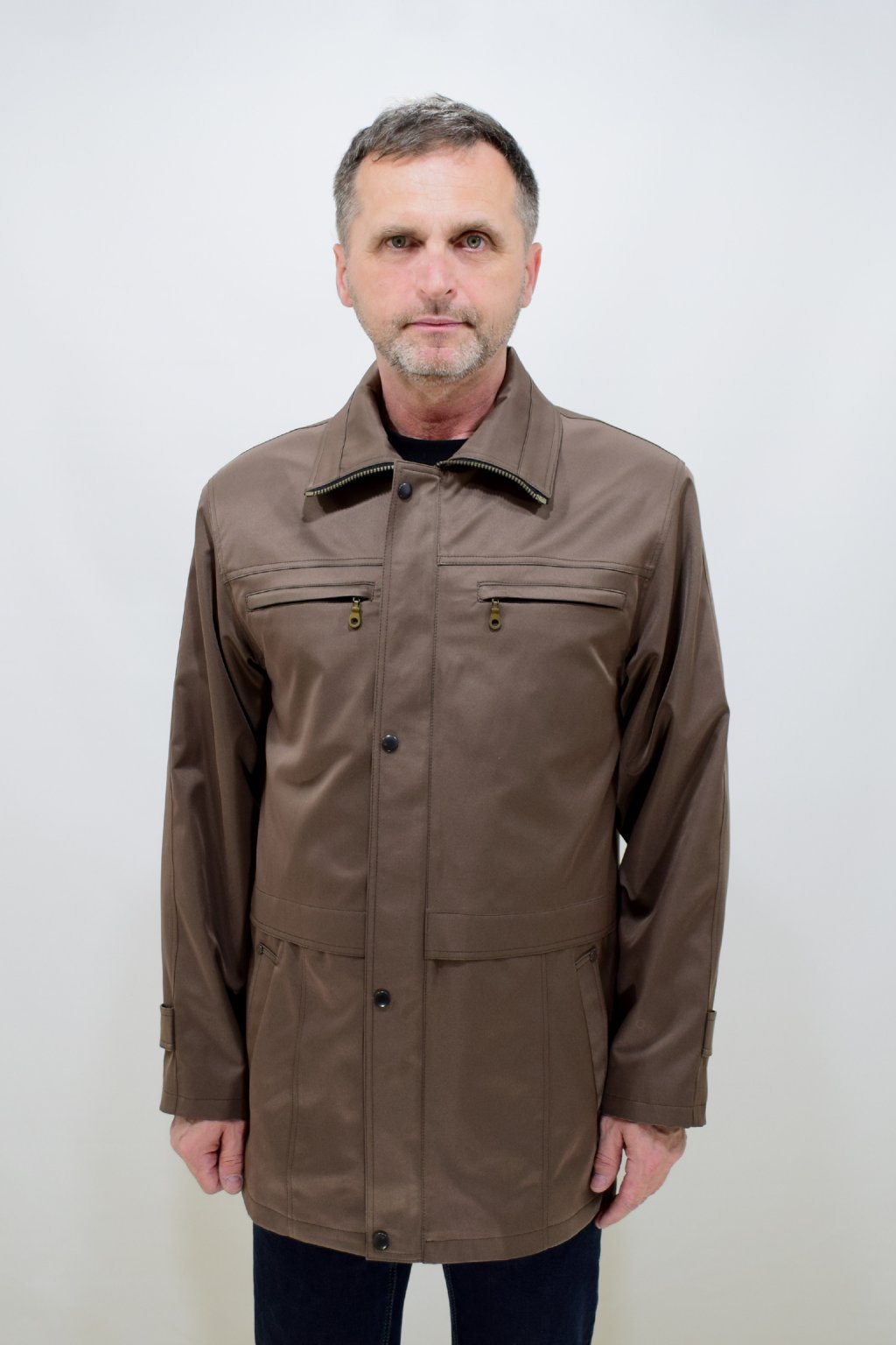 Pánská oříšková jarní bunda Aleš nadměrné velikosti.