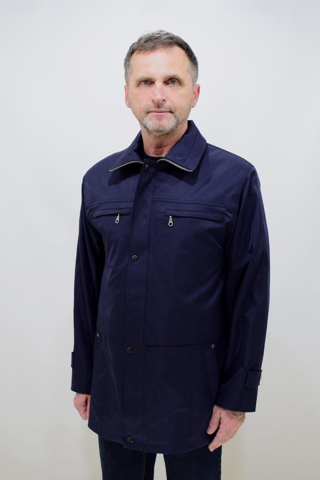 Pánská tmavě modrá jarní bunda Aleš nadměrné velikosti.