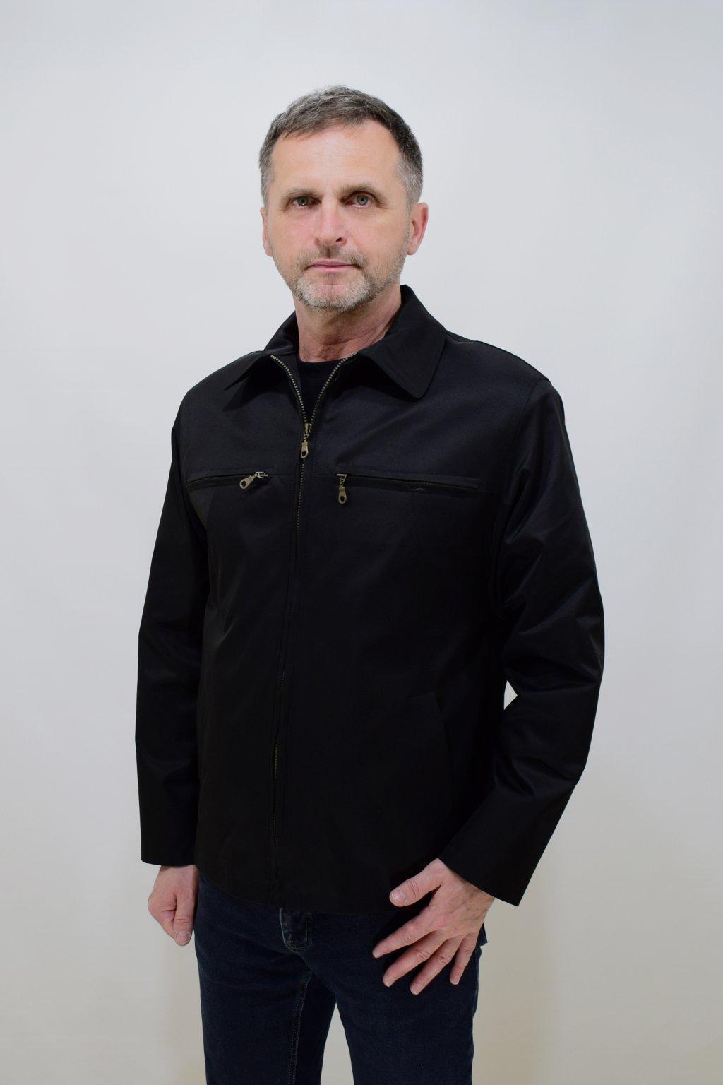 Pánská černá jarní bunda Jan nadměrné velikosti.