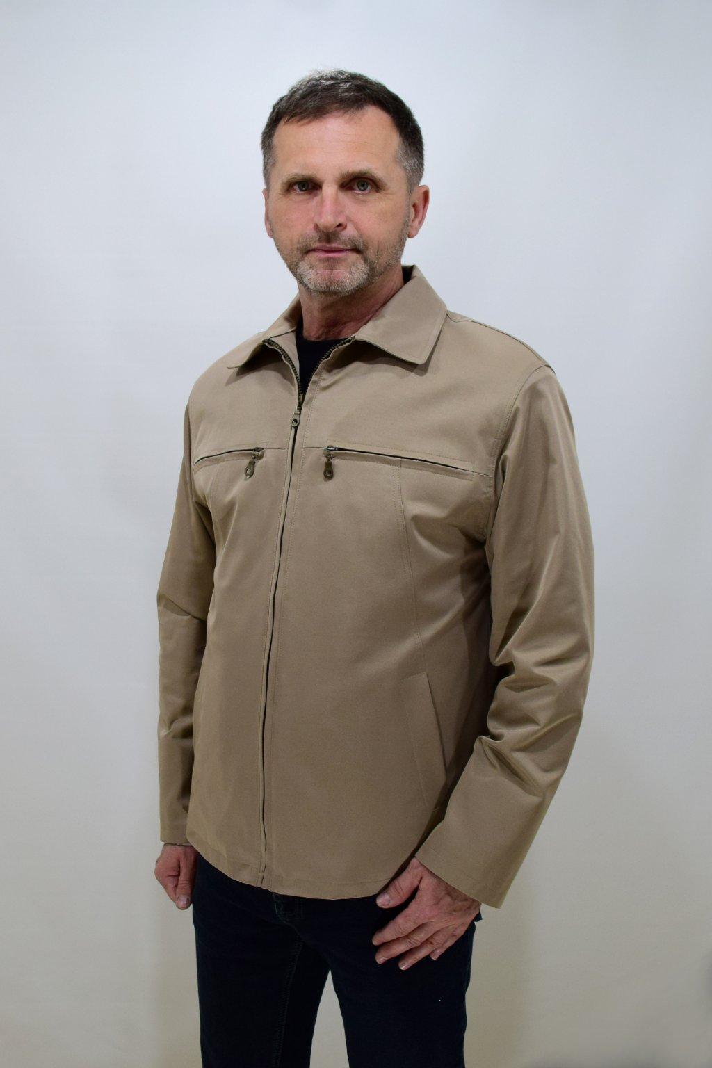 Pánská béžová jarní bunda Jan nadměrné velikosti.
