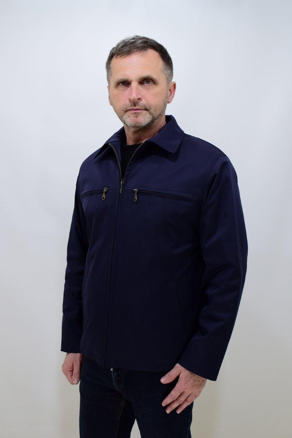 Pánská tmavě modrá jarní bunda Jan nadměrné velikosti.