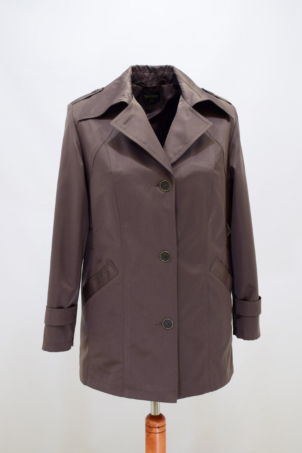 Dámský oříškový jarní kabátek Klára nadměrné velikosti.