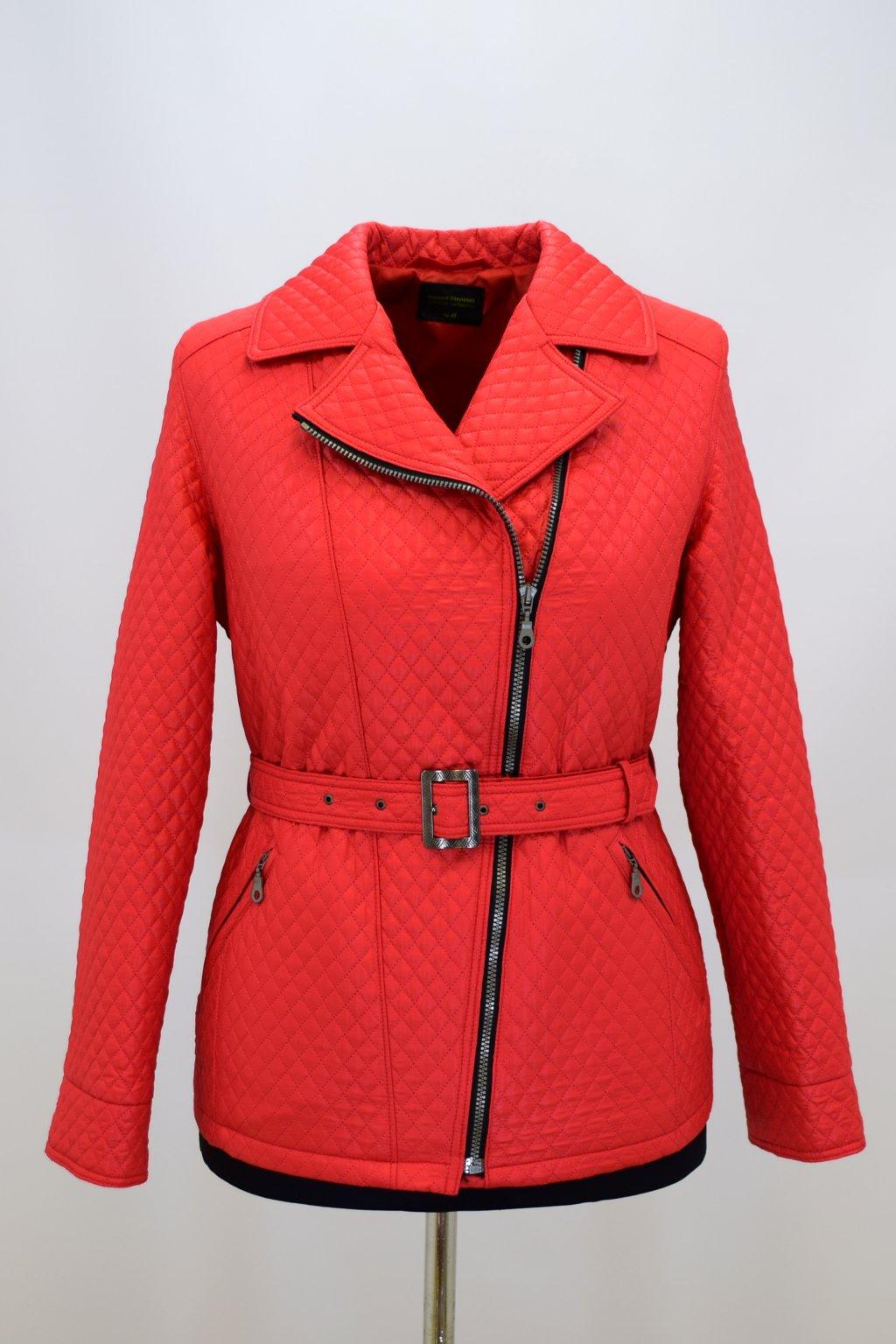 Dámský přechodový červený kabátek Zina nadměrné velikosti