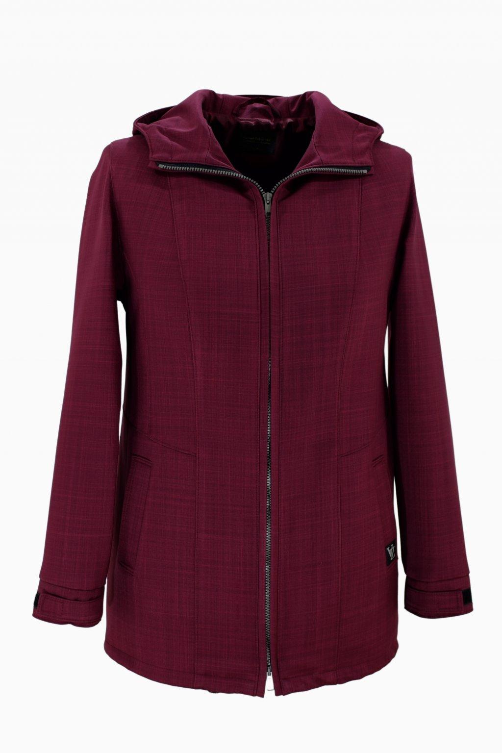 Dámská vínová jarní outdoorová bunda Elza nadměrné velikosti