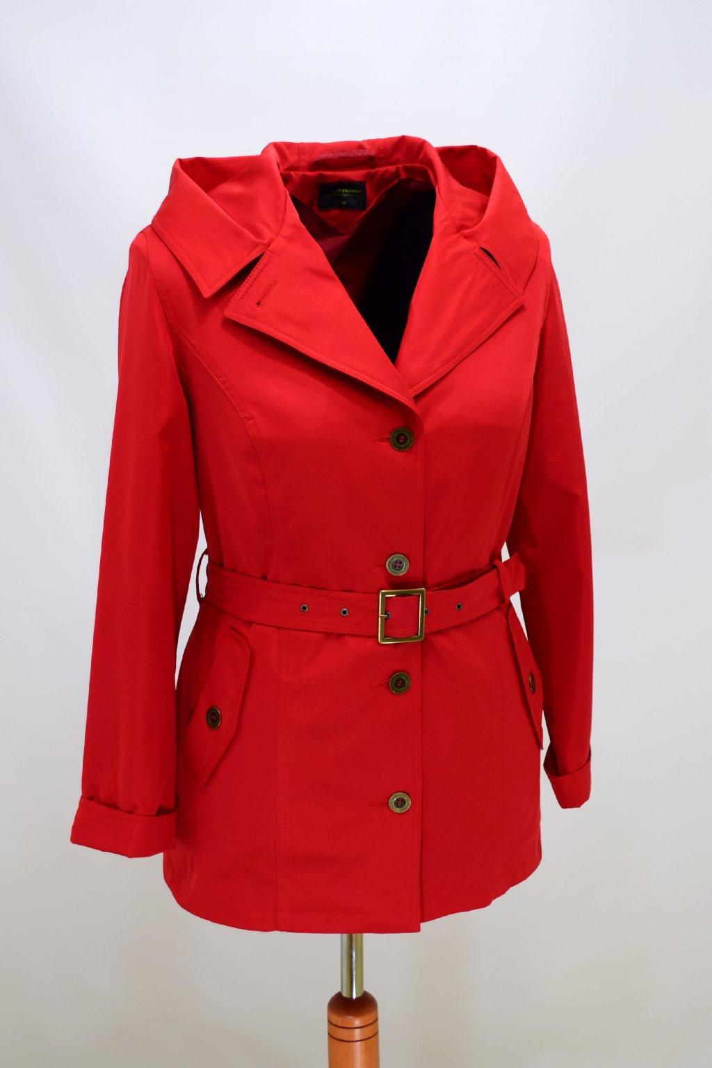 Dámský jarní červený kabátek Eva nadměrné velikosti.