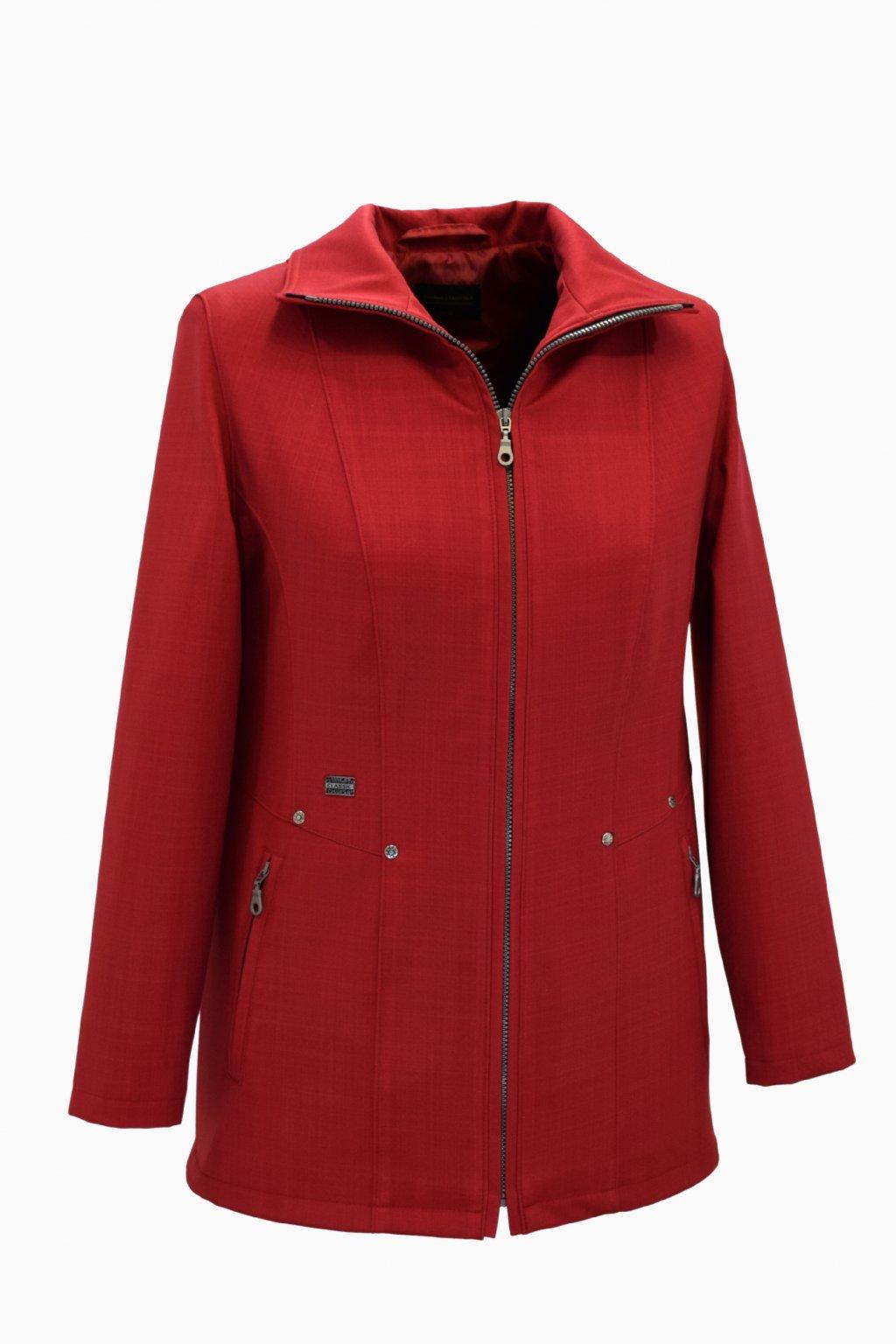 Dámská červená jarní bunda Milena nadměrné velikosti