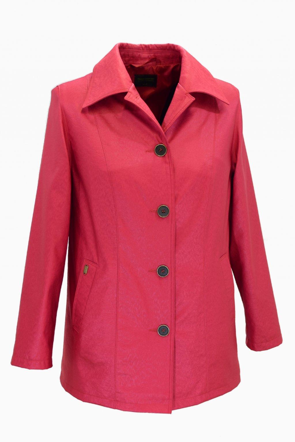 Dámský jarní červený kabátek Květa nadměrné velikosti.