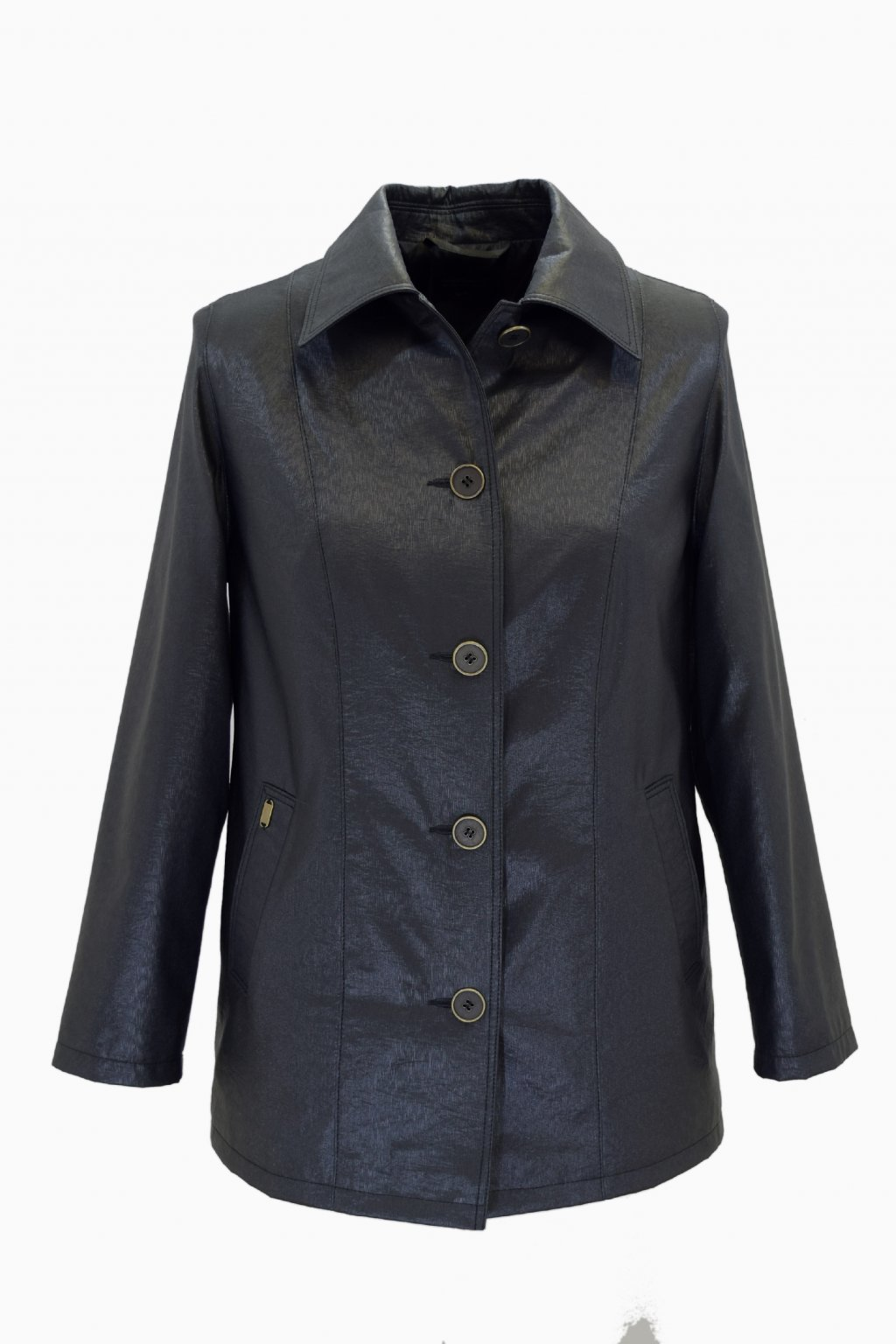 Dámský jarní černý kabátek Květa nadměrné velikosti.